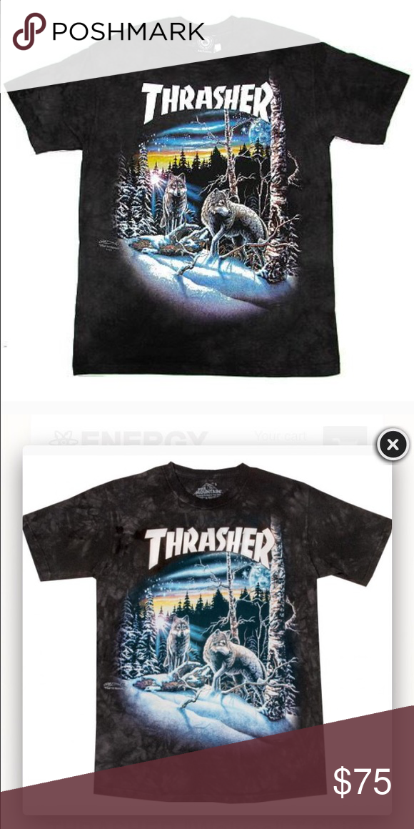82c2932f6d08 Thrasher wolf shirt New thrasher shirt just came out. It's black/tie dye  sold out everywhere. I bought a size small if anyone is interested Thrasher  Tops ...