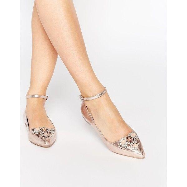 fb797f0fc7 ASOS LAVISH Embellished Pointed Ballets ($45) ❤ liked on Polyvore ...