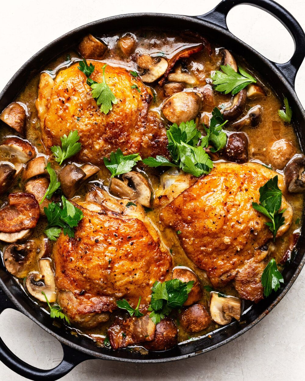Braised Chicken With Mushrooms, Bacon And Herbs
