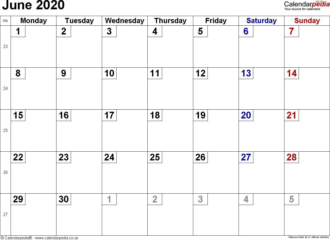 June 2020 Calendar Di 2020 Dengan Gambar
