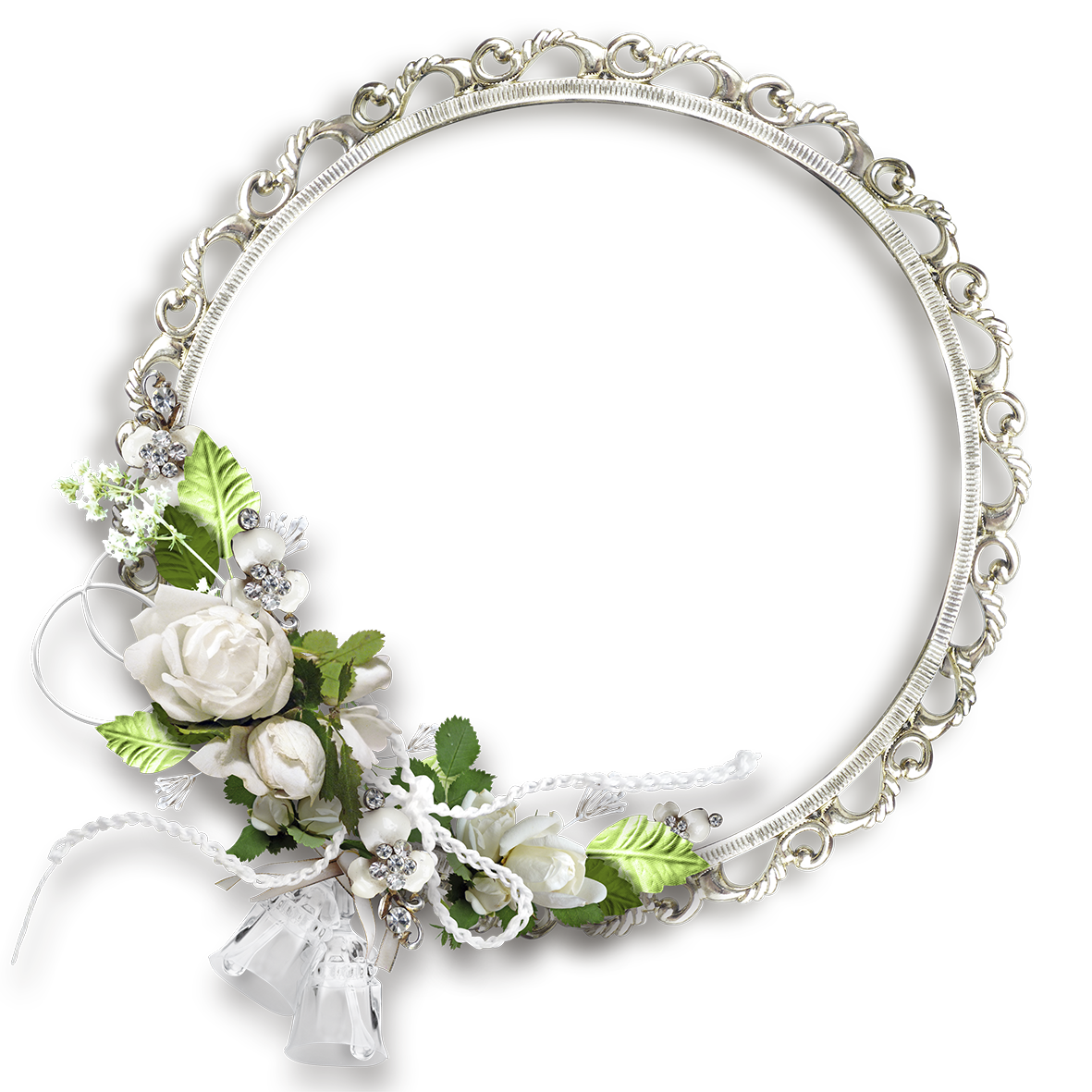 White Round Flowers Transparent Frame Weddings Pinterest