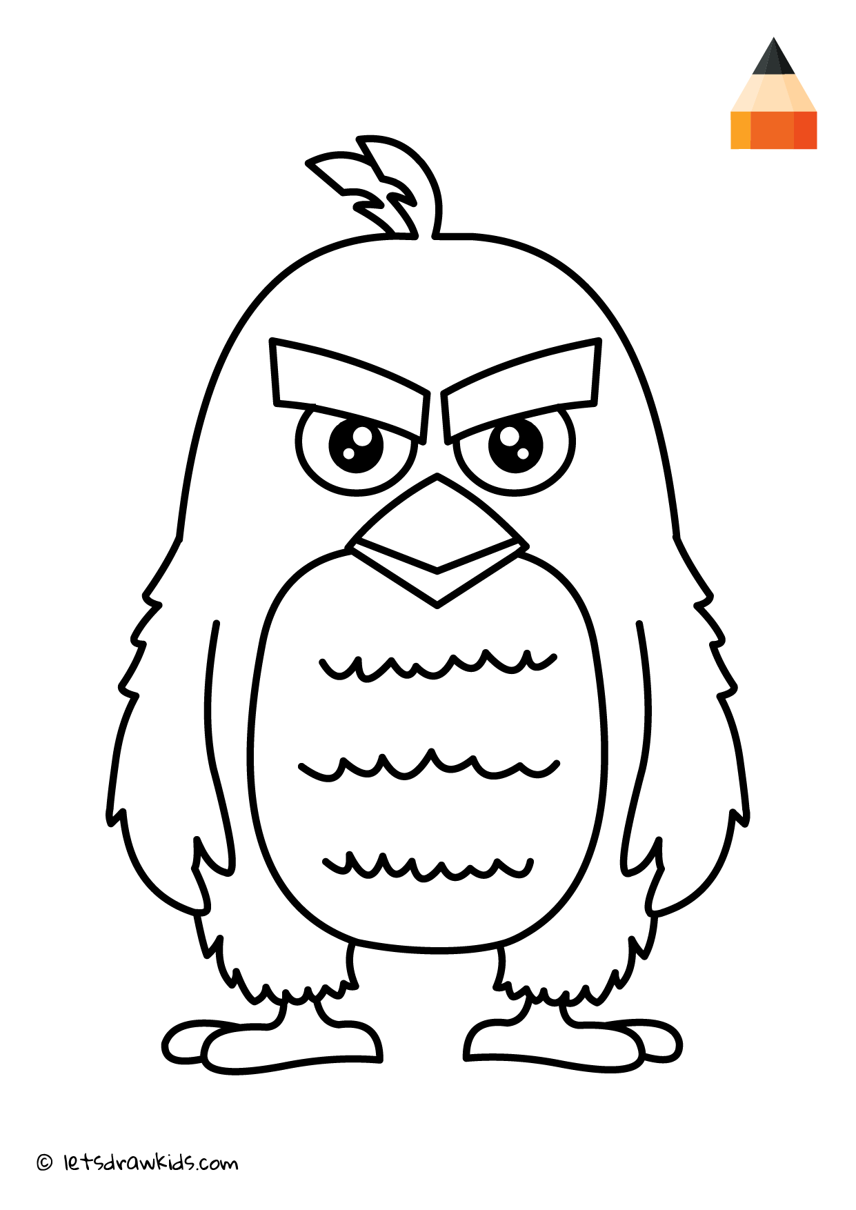 Coloring Page Angry Birds Red Bird Drawings Angry Birds Characters Drawings