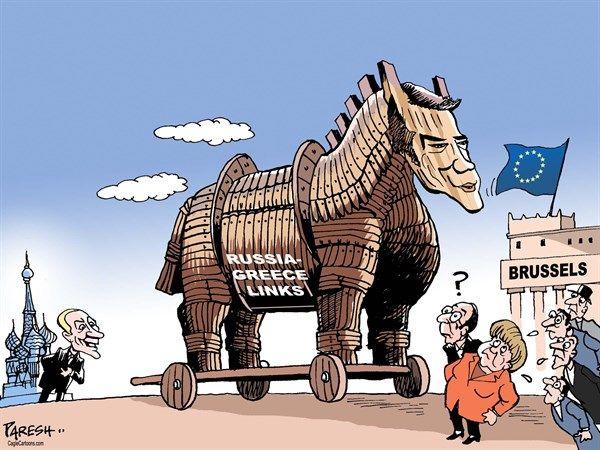 Paresh Nath The Khaleej Times Uae Russia Greece Links Color English Russia Putin Greece Greek Economy Eu Student Protest Editorial Cartoon Cartoon