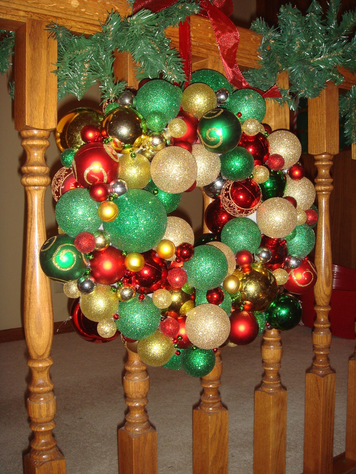 Ornament Wreath made out of shatterproof ornaments, hot