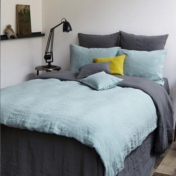 housse de couette en lin lav celadon housse de couette. Black Bedroom Furniture Sets. Home Design Ideas