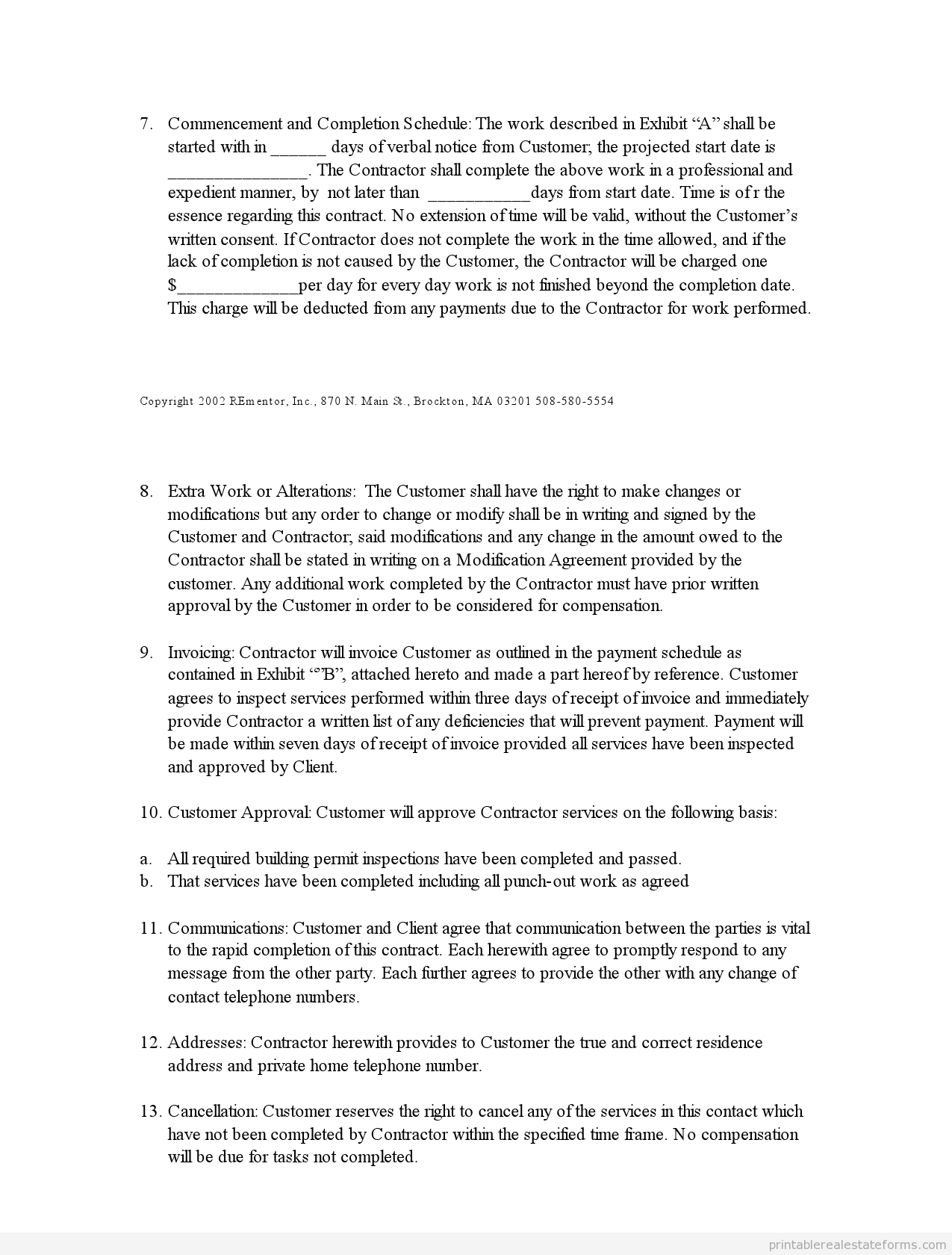 Sample Printable Indep Contractor Agreement 2 Form Real Estate Forms Legal Forms Real Estate Templates