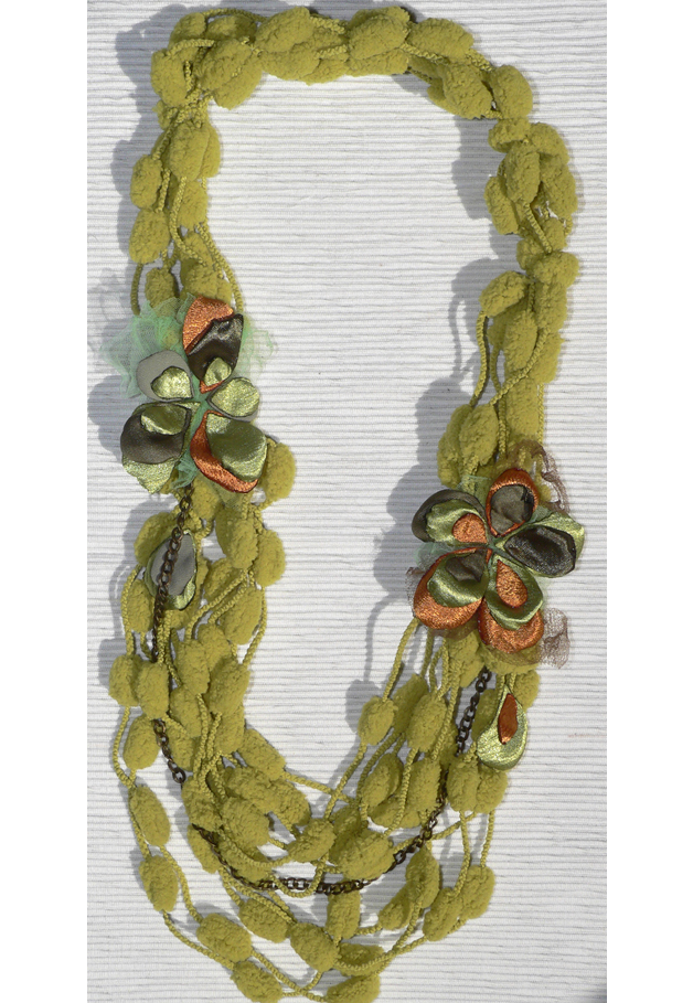 Long Necklaces – fabric necklace green gold with silk tulle flower – a unique product by Luciana-Torre-SHOP on DaWanda