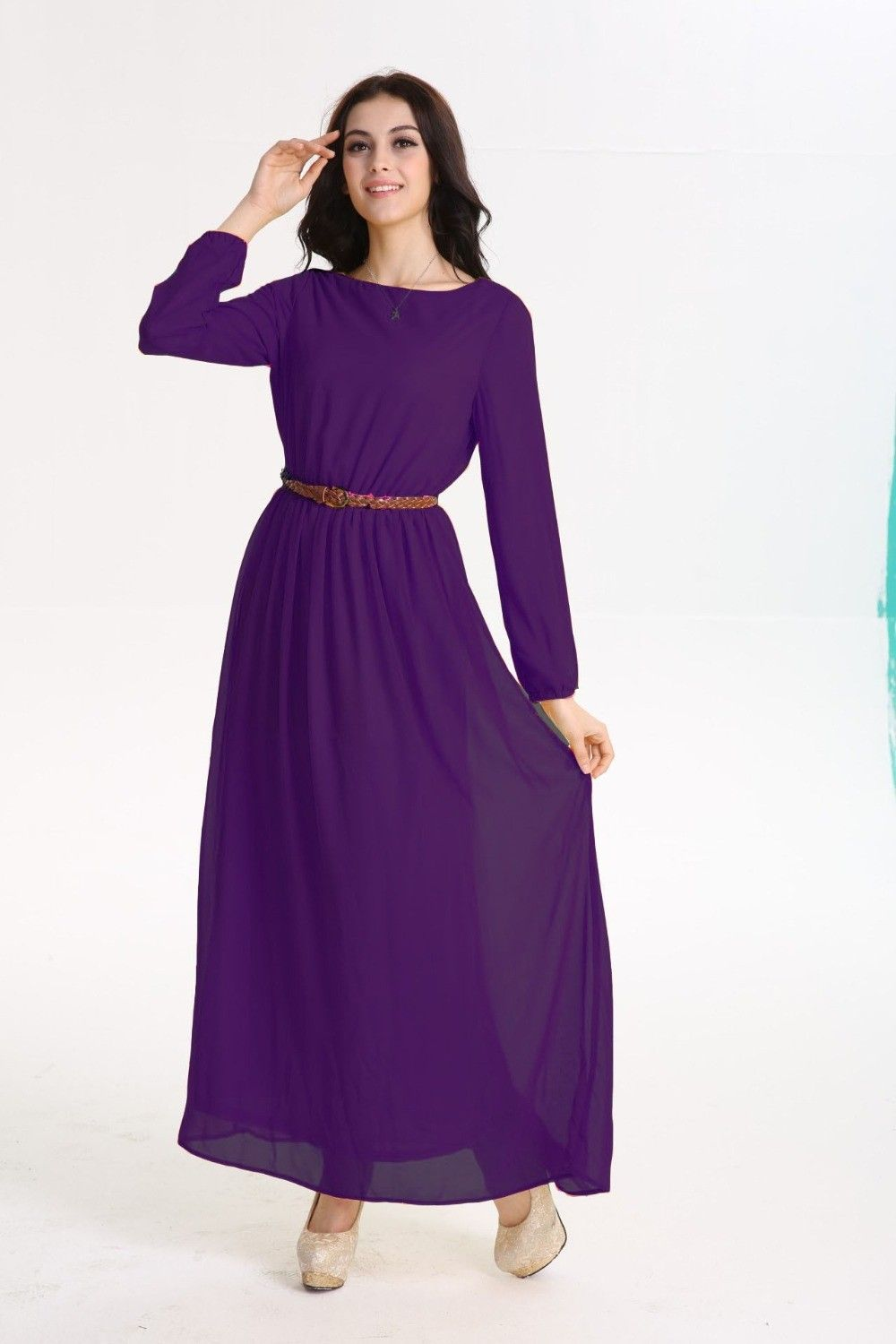 Newest collection about long sleeve maxi dress chiffon u maxi