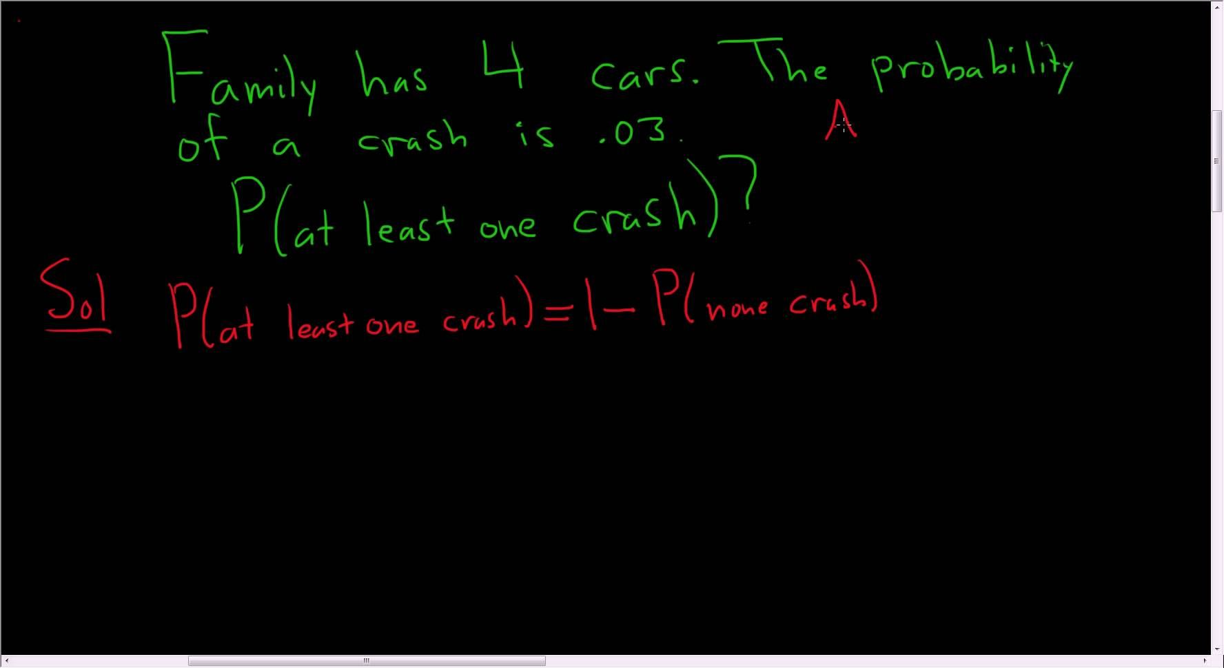 Probability A Family Crashes At Least One Car Multiplication Rule And Co Math Videos Teaching Math Multiplication Rules
