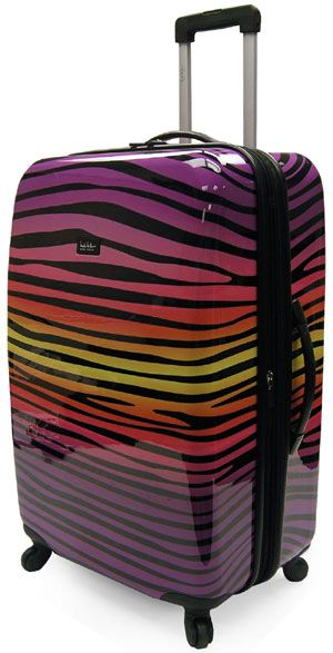 Rainbow, zebra striped spinner luggage from Nicole Miller - really ...