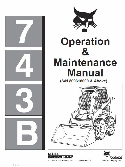 Bobcat 742b And 743b Skid Steer Loader Service Manual Skid Steer Loader Manual Bobcat