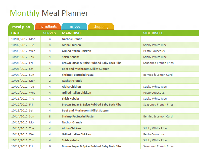 Microsoft Excel template - download to organize and plan meals ...