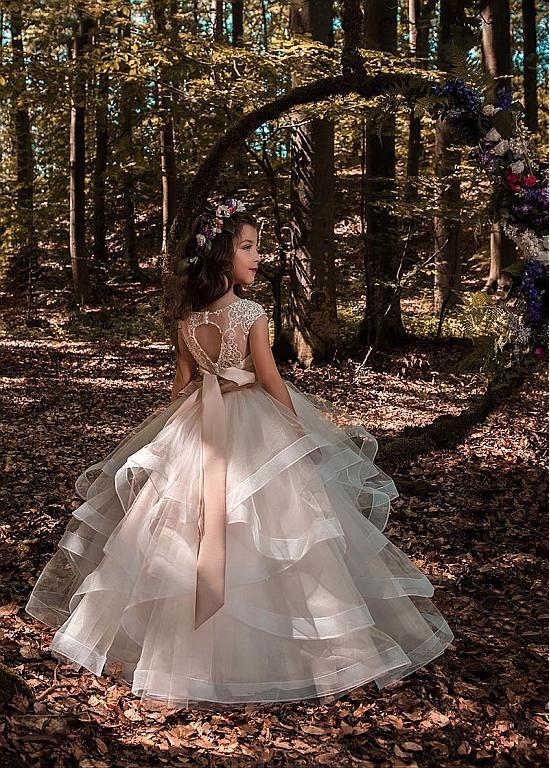 22e9b77e83 Pretty Tulle   Elasticated Net Bateau Neckline Ball Gown Flower Girl  Dresses With 3D Lace Appliques   Beadings   Belt