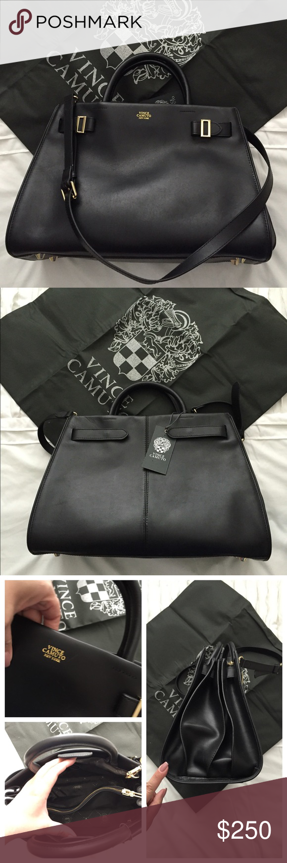 Vince Camuto black Elisa Group Satchel Beautiful and chic Vince Camuto black Elisa Group Satchel. Comes with its dust pouch. New with tags. Sold out everywhere! All leather with gold hardware. Vince Camuto Bags Satchels