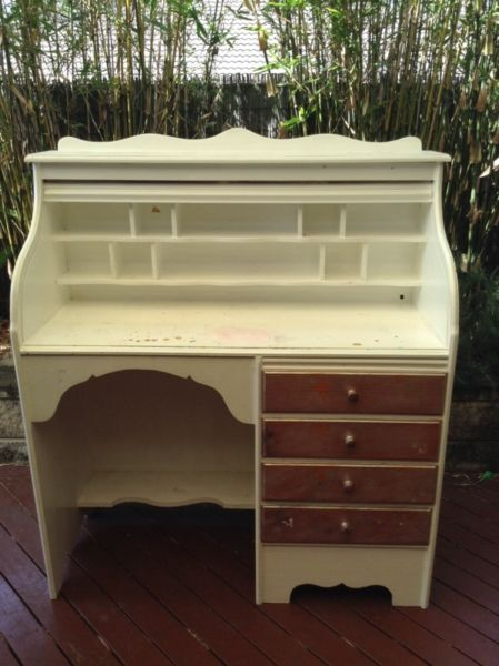 Girls White Wooden Shabby Chic Vintage Roll Top Desk Desks Gumtree Australia Brisbane South East Wakerley Roll Top Desk Vintage Chic Gumtree Australia