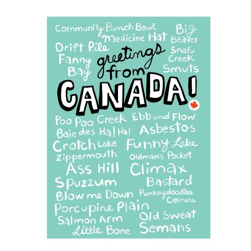 Greetings from Canada (funny place) names | Wendy Tancock Design