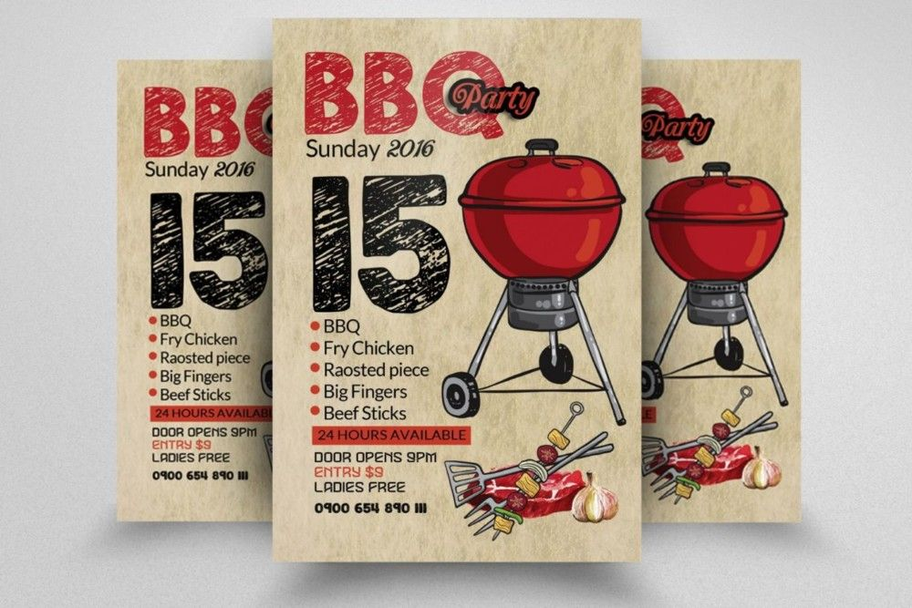 Bbq Flyer Template Psd Eps And Ai Format Download   Bbq