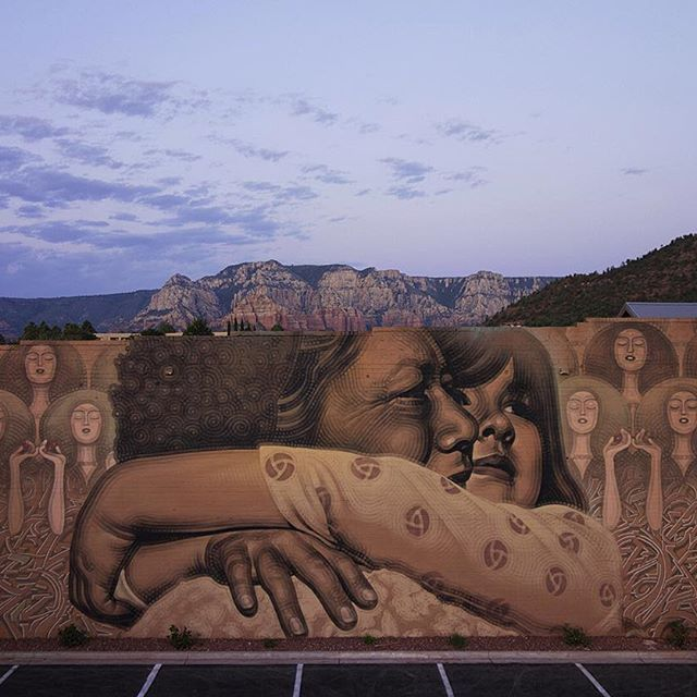 This is a mural I recently painted in Sedona, Arizona, commissioned by Whole Foods for their store there. The embracing figures are based on my mother-in-law and her granddaughter. I hope this mural might convey some sense of the positive influence of familial love and joy, as I've seen the impact of these on my mother-in-law while she has been going through cancer treatment the last few years. The mural is also a sort of southwestern homage to one of my favorite artists, the great…