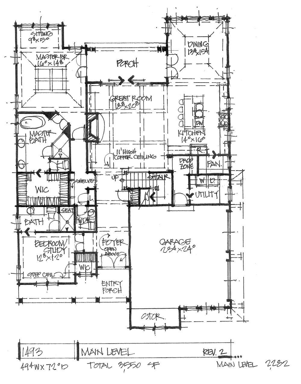 Conceptual House Plan 1493 Narrow Two Story House Plans Craftsman Floor Plans House Floor Plans