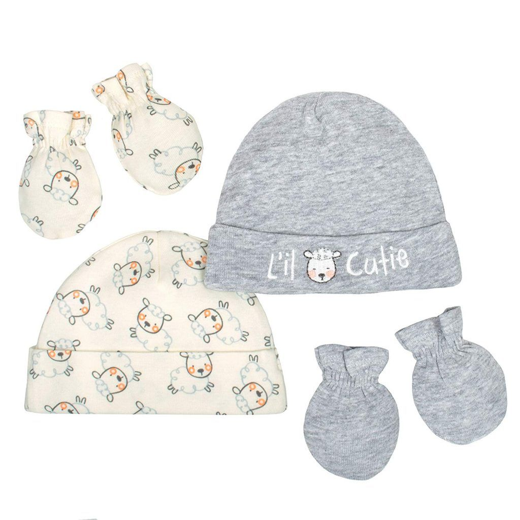 b37c0623186 Gerber Baby Infant 4 Piece Organic Cap and Mitten Set