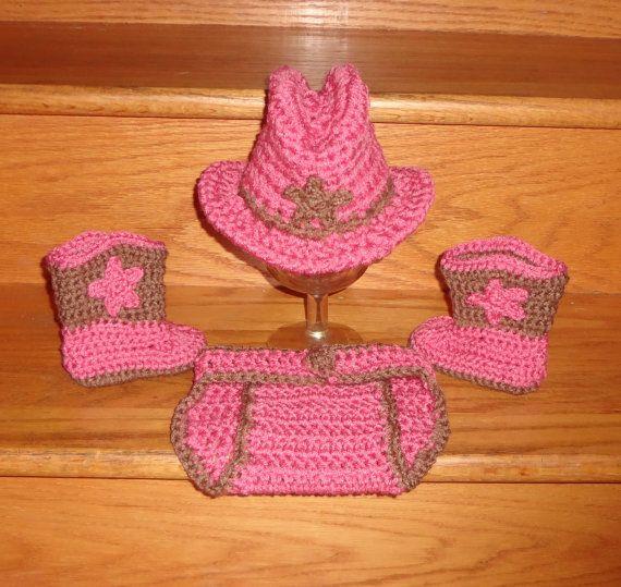 Newborn, 0-3 Months Baby Crochet Cowboy Cowgirl Hat & Pink Diaper ...