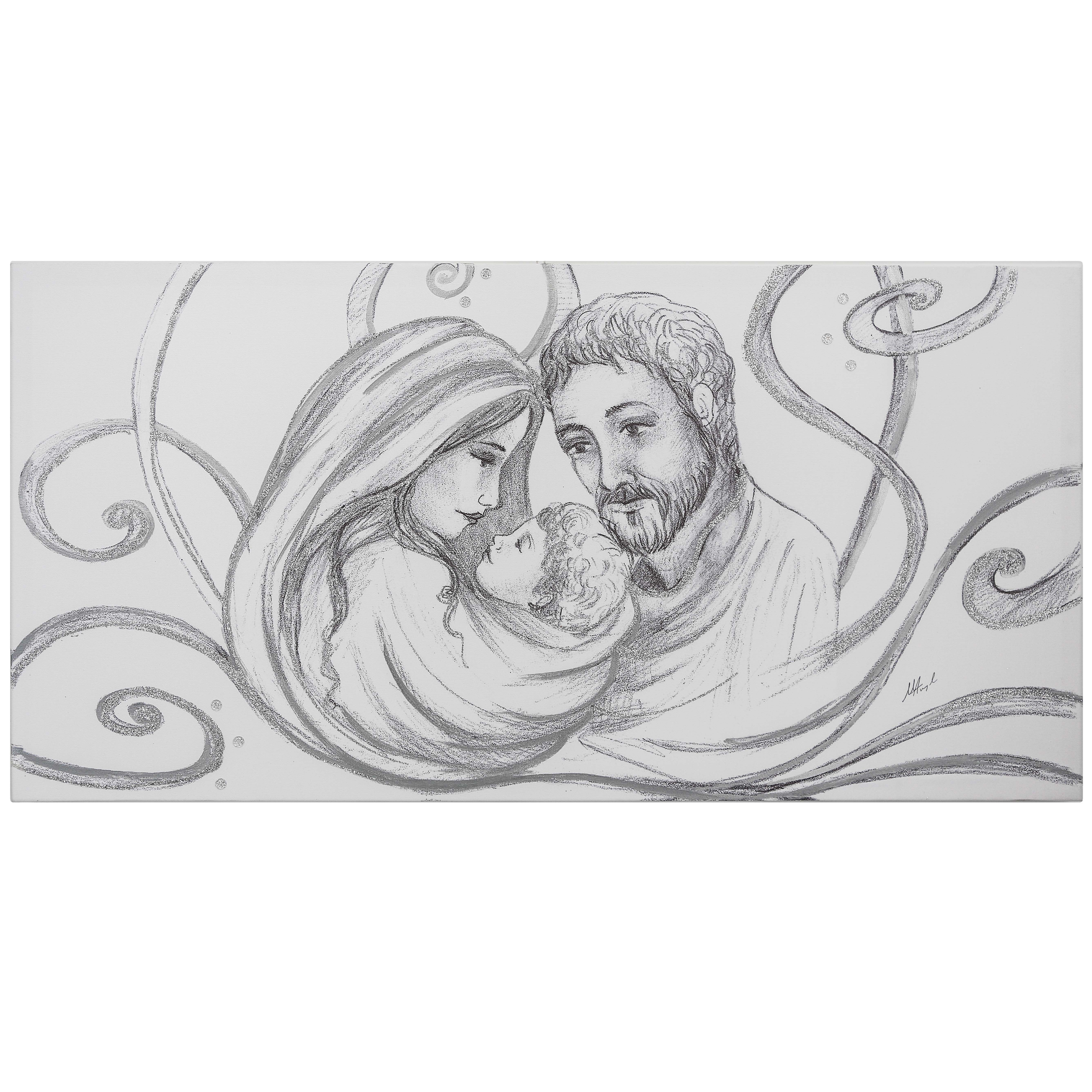 Capezzale classico Sacra famiglia carboncino argento | Sacra ...