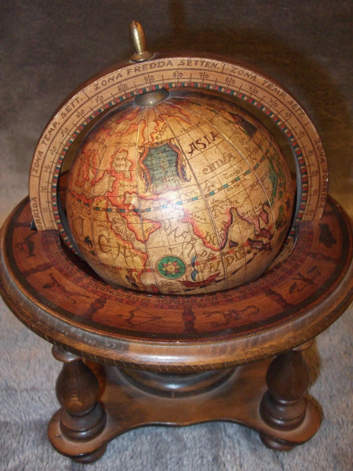 Vintage Map Wood Olde Old World Globe Italy Astrology Dragons