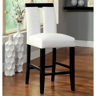 Furniture Of America Lumina Two Tone Counter Height Chair (Set Of 2) (White  Leatherette) (Faux Leather)