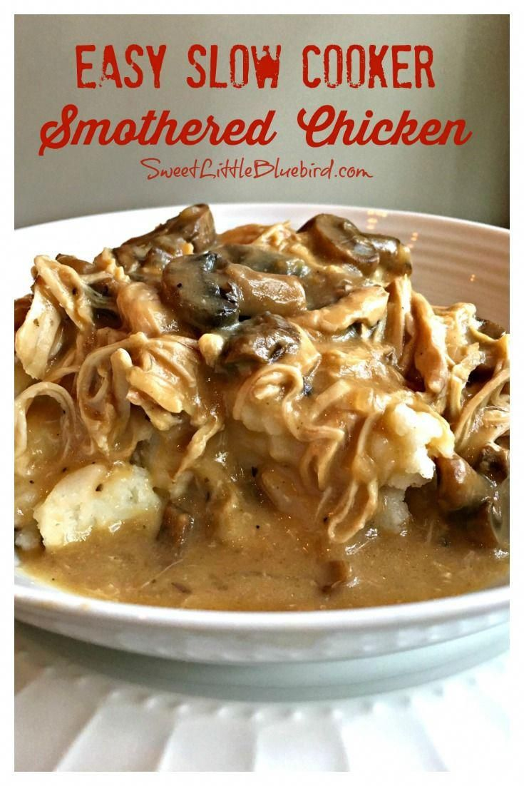 Easy Slow Cooker Smothered Chicken EASY SLOW COOKER SMOTHERED CHICKEN with GRAVY-  Comfort food that's simple to make, so good. With just a few ingredients and minutes to whip together, this simple and flavorful slow cooker smothered chicken recipe is a meal the whole family will love! Perfect for a busy day...let your slow cooker do most of the work!.