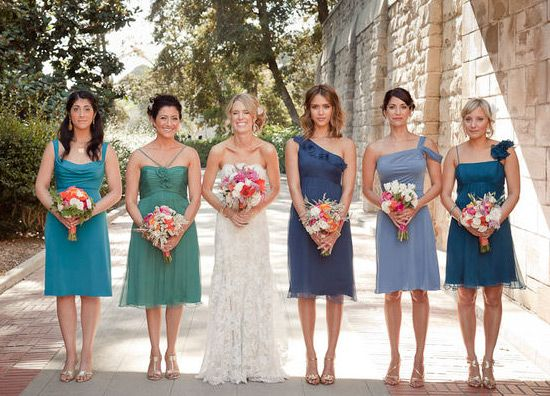 Bridesmaids in different shades of blue... gorgeous! :-) @Jill ...