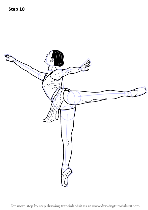 Step By Step How To Draw A Ballet Dancer Drawingtutorials101 Com Dancer Drawing Ballerina Drawing Ballet Dancers