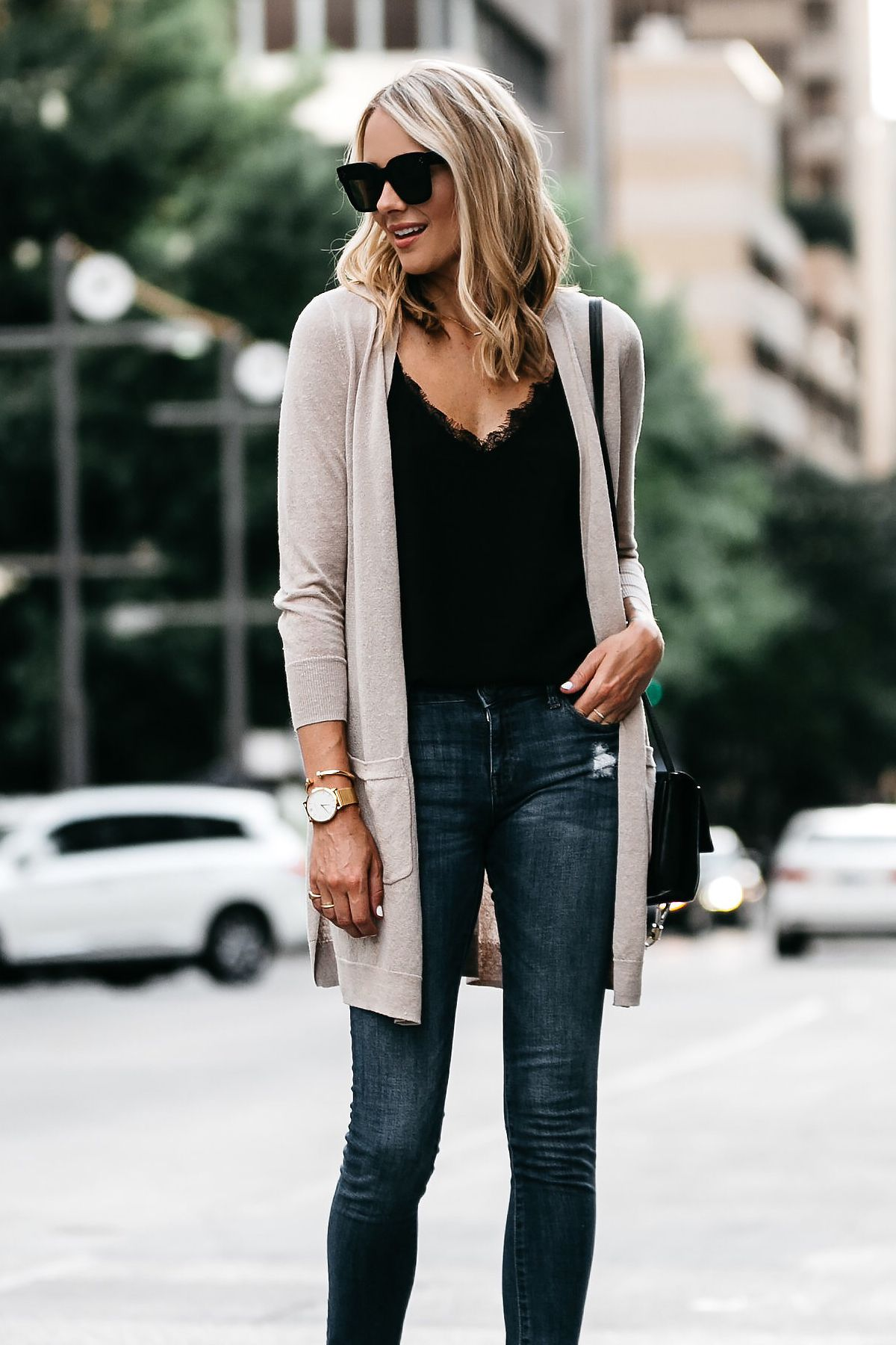 dbf11cfb13 Blonde Woman Wearing Long Tan Cardigan Black Lace Cami Denim Skinny Jeans  Outfit Fashion Jackson Dallas Blogger Fashion Blogger
