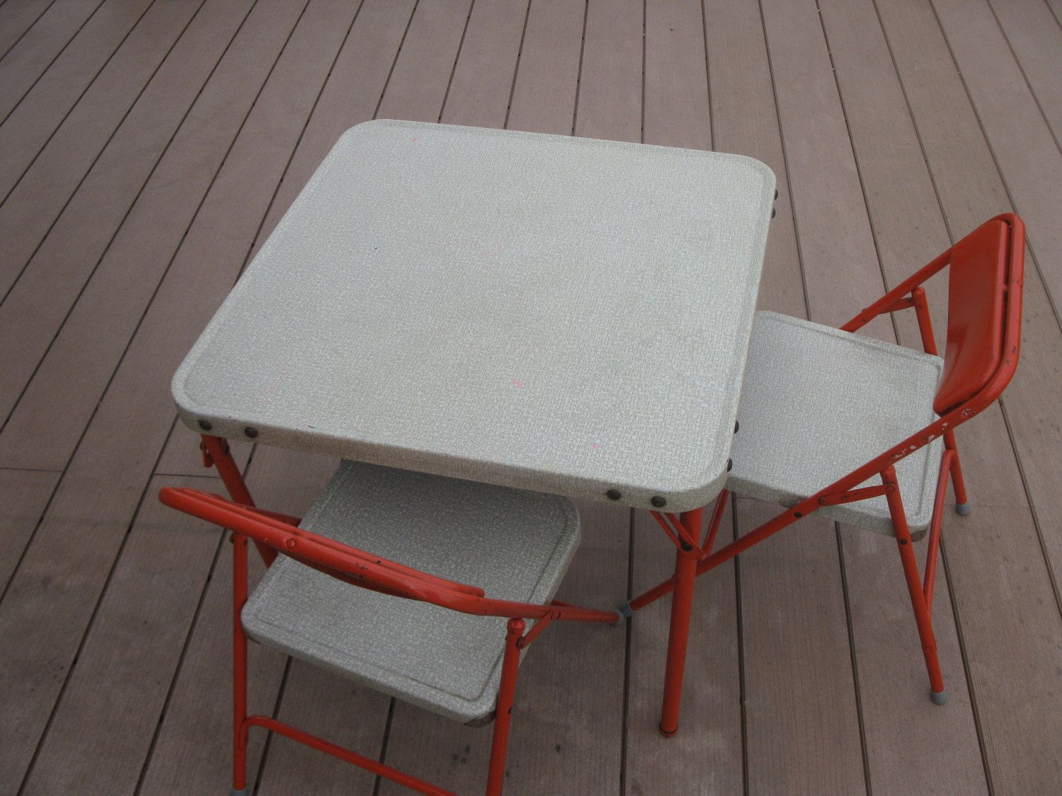 Samsonite Childs Table And Chairs  Folding Chairs  All Metal  Orange  Retro