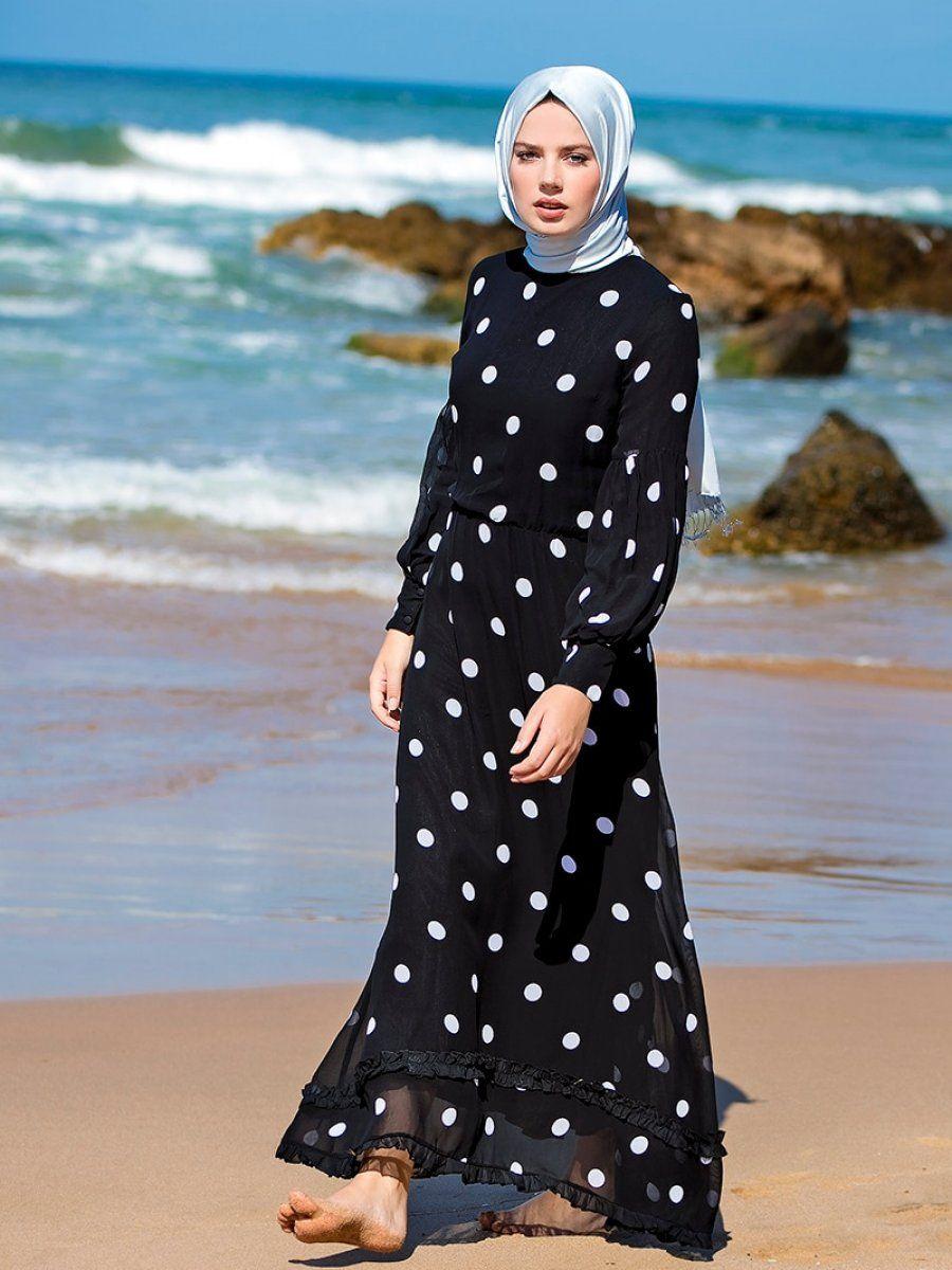 Refka Tesettur Puantiyeli Elbise Modelleri Puantiyeli Elbise Elbise Islami Giyim
