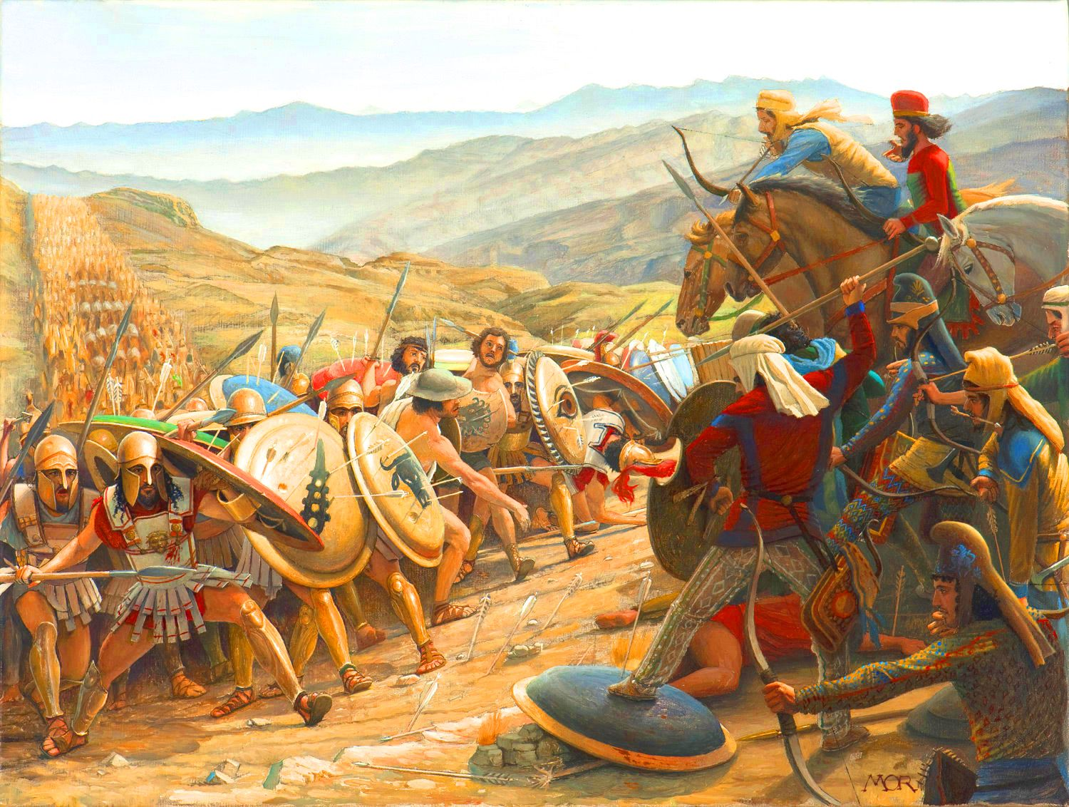 Battle between the Greeks and Persians at Abyadh or the 'White ...