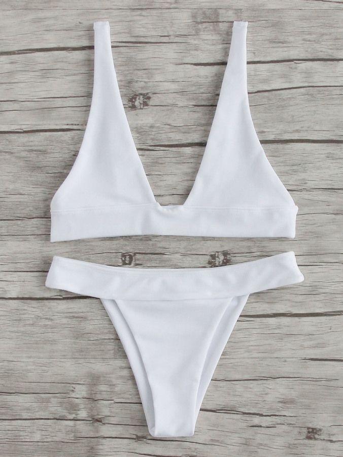 Tiendas De Ropa De Baño | Romwe Plunge Neckline Beach Bikini Setl Swimsuits Pinterest