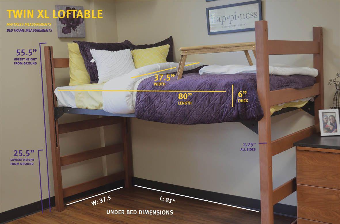 Measurements For A Twin Xl Loftable Bed Dorm Room Bedding Dorm