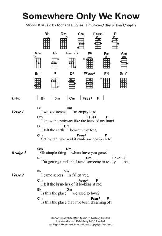 Image Result For Somewhere Only We Know Ukulele Chords Ukulele