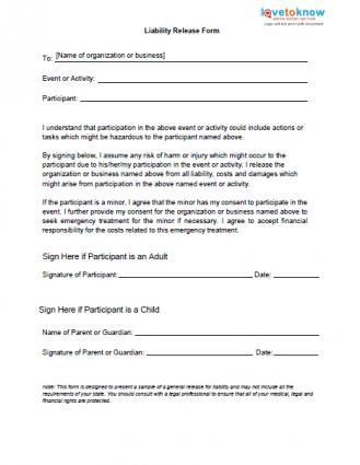 Printable Sample Release And Waiver Of Liability Agreement Form - general liability release