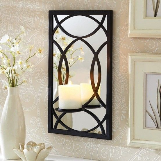 better homes gardens metal mirror pillar black sconce wall candle holder decor. Black Bedroom Furniture Sets. Home Design Ideas