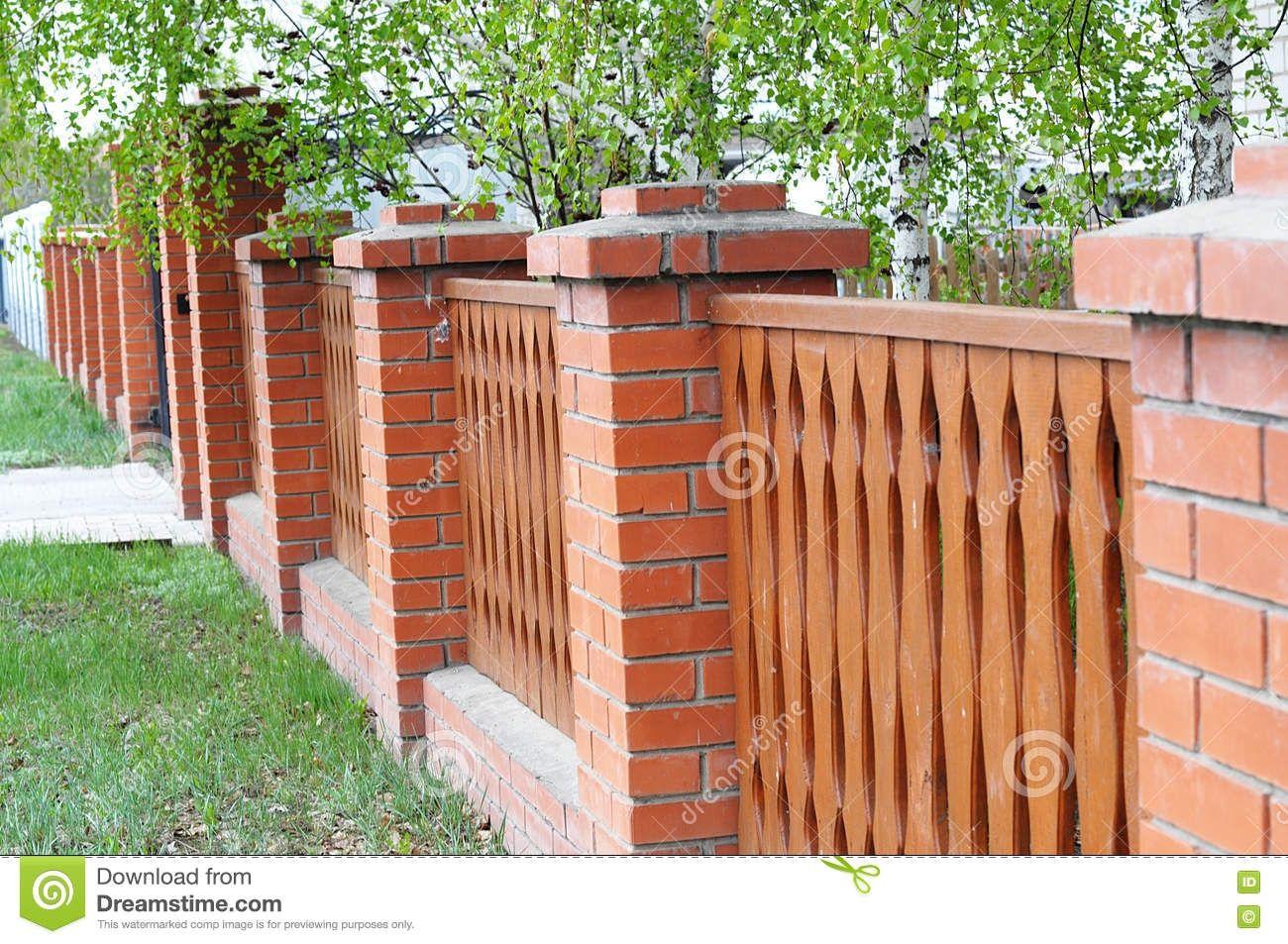 Brick Wall Designs With Palisade Fencing Brick Wall Wall Design