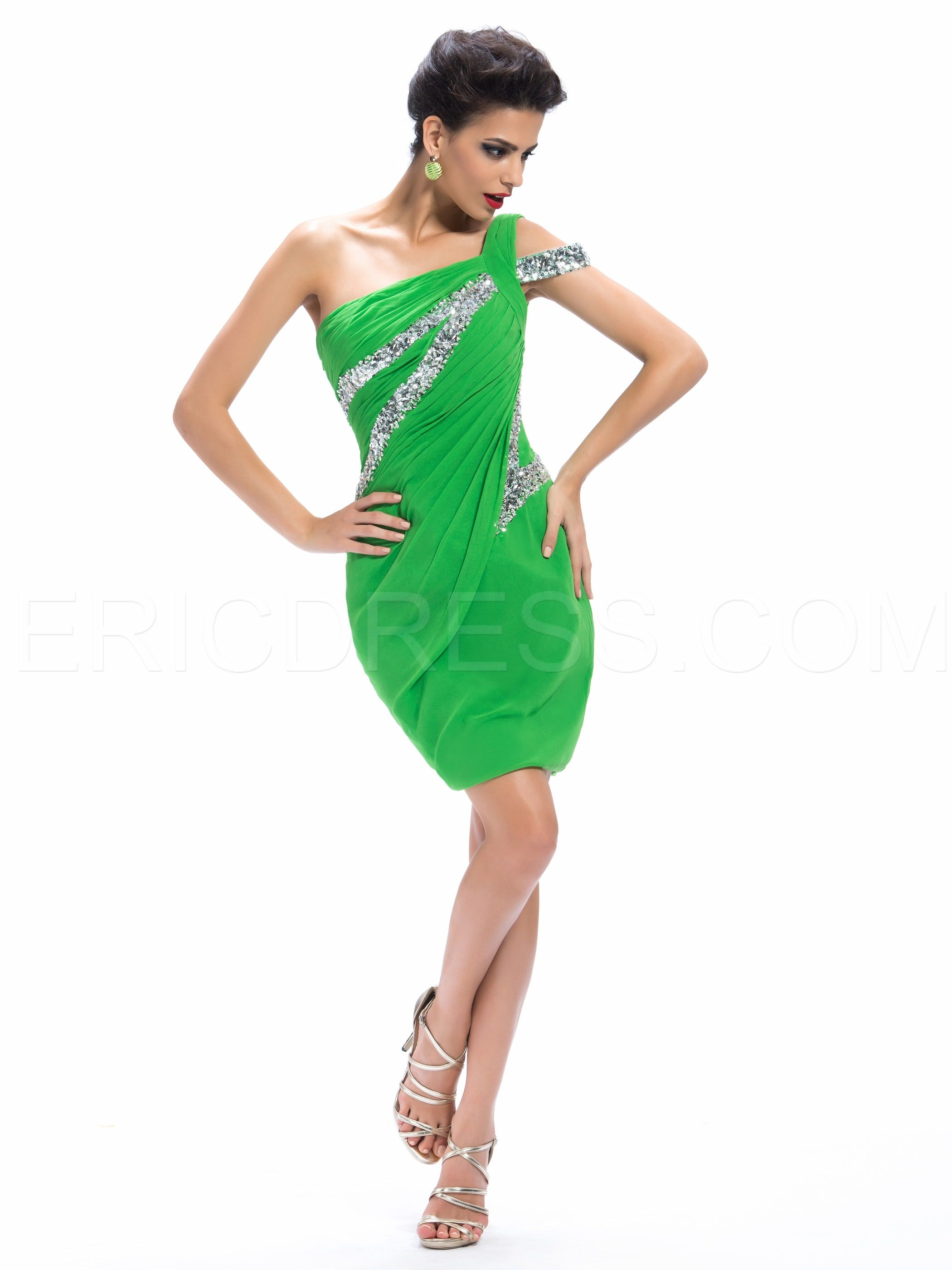 Charming Sheath One-Shoulder Sequins Cocktail Dress | Sequins and ...