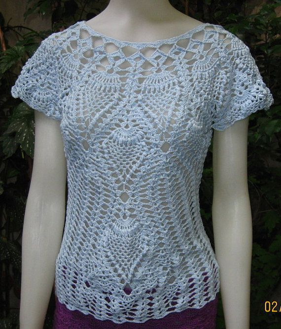 Blusa Tejida En Crochet Con Algodon Mercerizado Por Ruecavellon