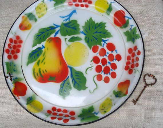 Vintage Enamelware Painted Tray by ThriftStoreAddiction on Etsy
