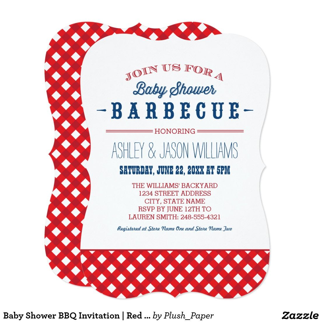 Baby Shower BBQ Invitation | Red White + Blue