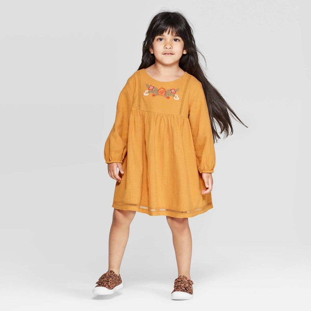 Toddler Girls Long Sleeve Embroidered Dress Art Class Gold 18m Girl S Yellow Long Sleeve Embroidered Dress Toddler Girl Dresses Girls Long Sleeve [ 1000 x 1000 Pixel ]