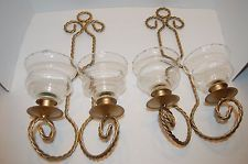 Gentil 2 Home Interior Wall Sconces Twisted Metal With 4 Votive Cups Gold