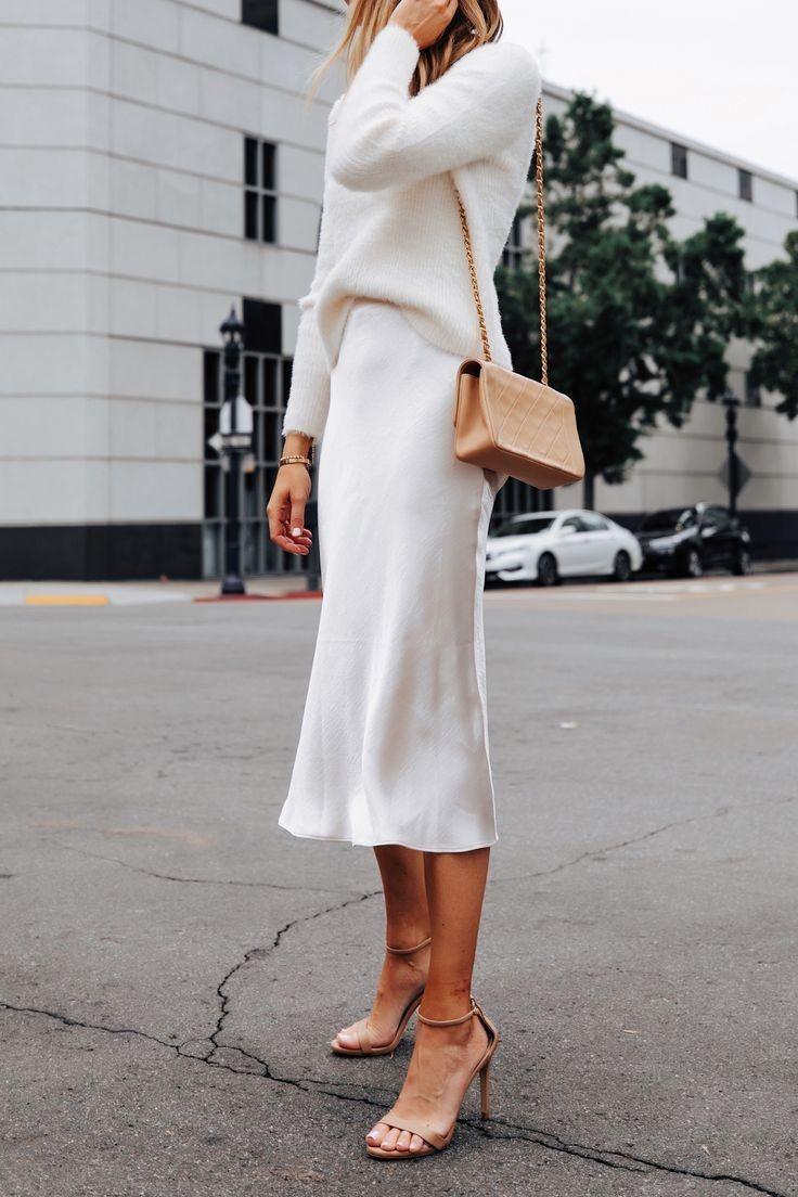 Ivory slip silk skirt TWO layers 100% real silk slip midi a-line skirt women skirt cream bias cut slip skirt trends trends silk satin skirt
