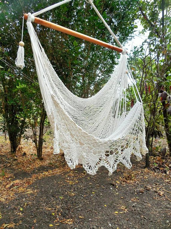 Large hammock chair with crochet edge. Hanging chair
