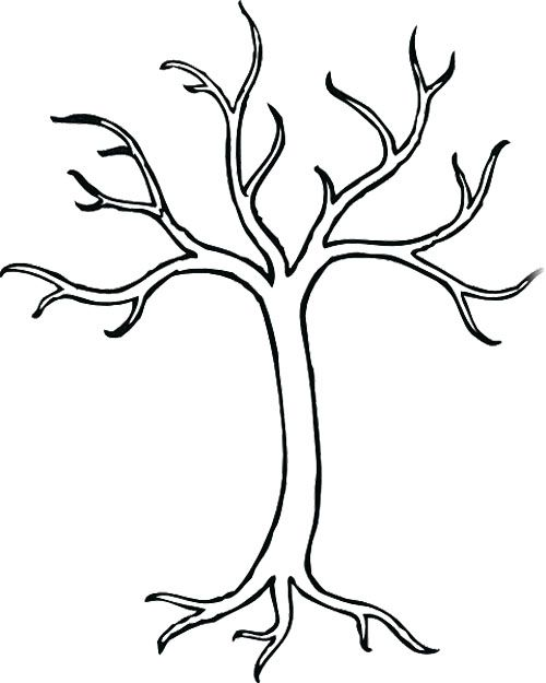 Coloring Page For Kids Tree Drawing Simple Tree Coloring Page Leaf Coloring Page